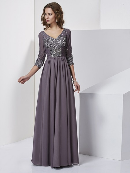 Column V-Neck Floor Length Sleeves Chiffon Beading Gown