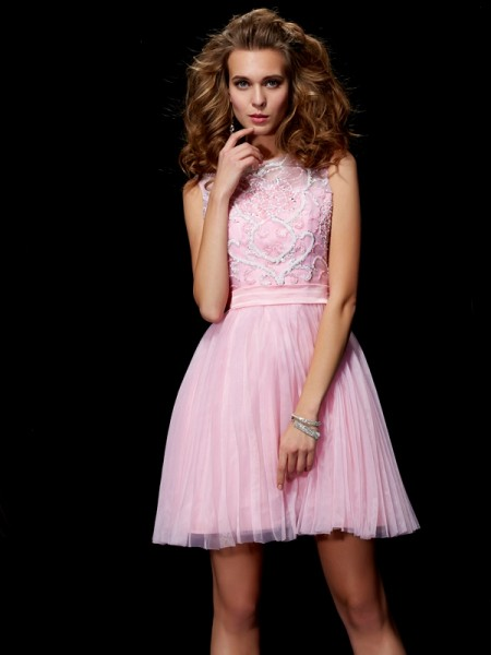 A Line Princess Scoop Beading Mini Elastic Woven Satin Women Dresses