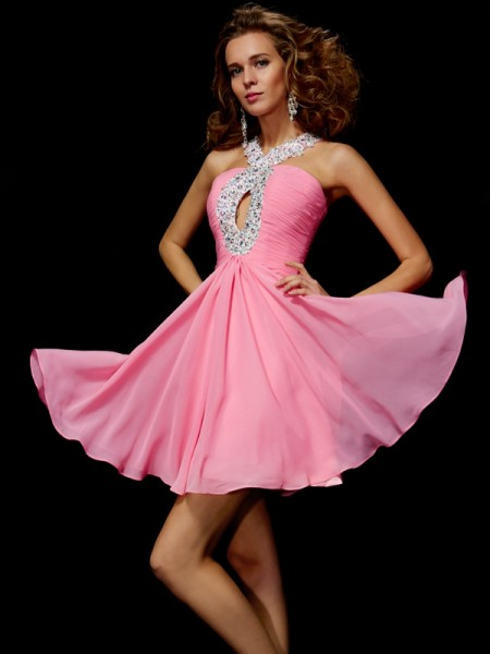 Beading A Line Princess sequin V-Neck Mini Chiffon homecoming Dresses