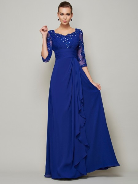 A Line Princess Chiffon Scoop Sleeves Floor Length Mother of the Bride Outfits
