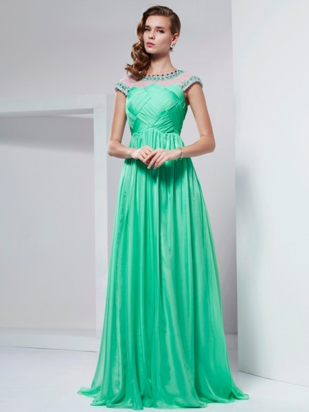 A Line Princess High Neck Beading Floor Length Chiffon Prom Dress