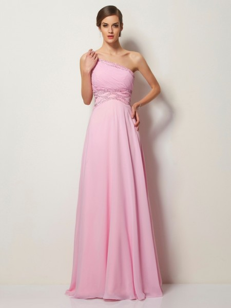 A Line Princess One Shoulder Beading Chiffon Sweep Brush Train Evening Gown