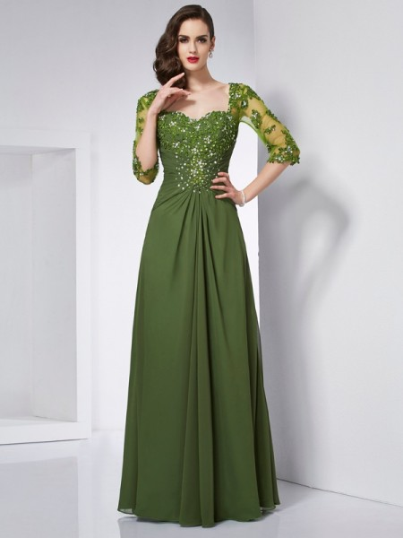 A Line Princess Sweetheart Sleeves Beading Applique Chiffon Floor Length Evening Gown