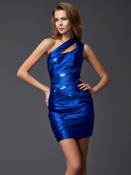 Column Mini One Shoulder homecoming Gown
