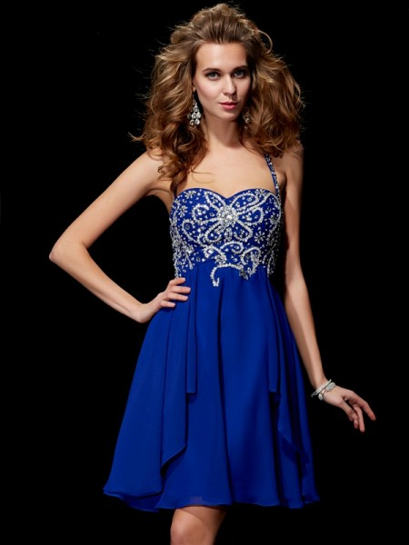 A Line Princess Halter Beading Mini Chiffon Women Dresses