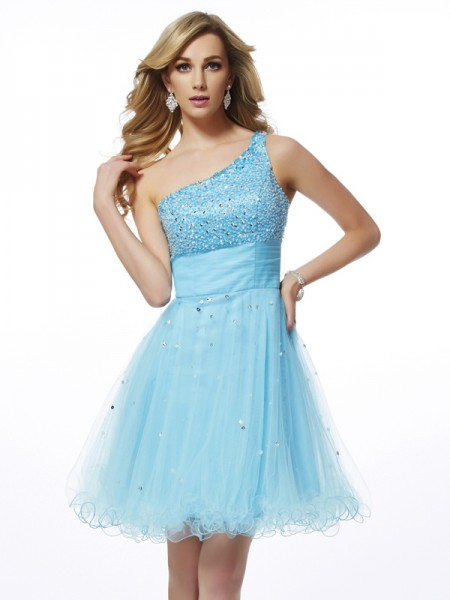 A Line Princess One Shoulder Beading Mini Organza Women Dresses