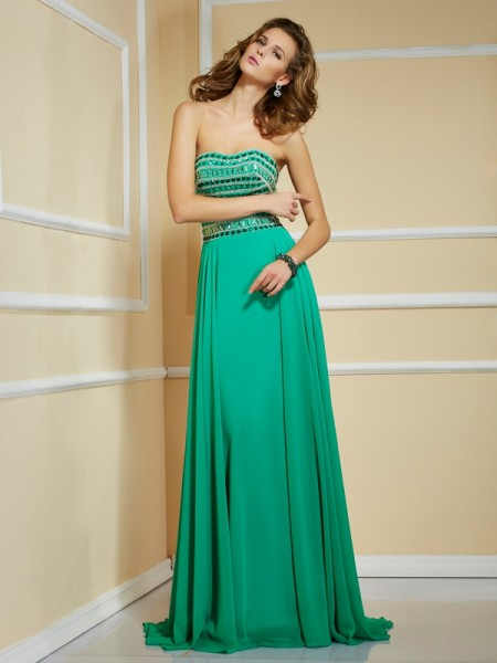 A Line Princess Rhinestone Strapless Sweep Brush Train Chiffon Prom Dress