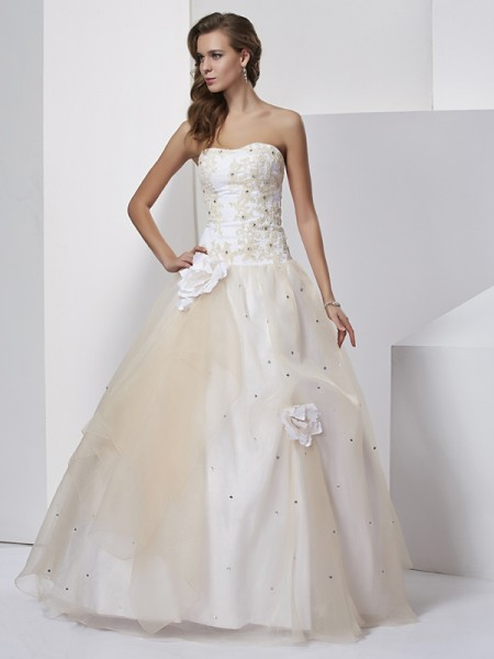 Ball Gown Hand Made Flower Sweetheart Floor Length Tulle Evening Gown