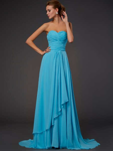 A Line Pleats Sweetheart Sweep Brush Train Chiffon Dress