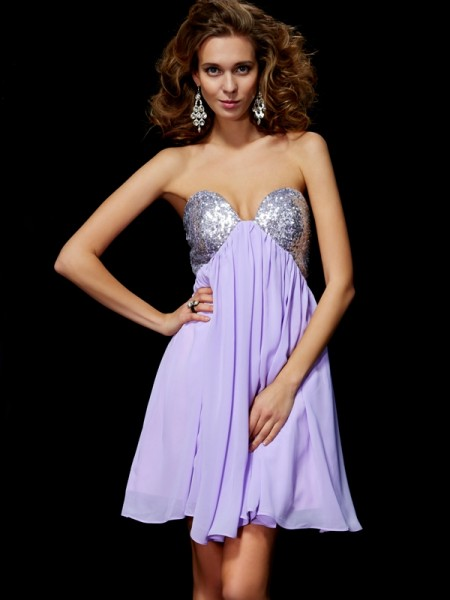 Column Sweetheart Mini Chiffon Gown