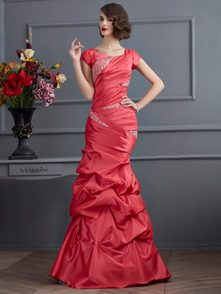 Mermaid Scoop Short Sleeves Beading Floor Length Taffeta Evening Gown