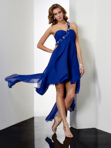 A Line Princess Asymmetrical One Shoulder Chiffon Beading Gown