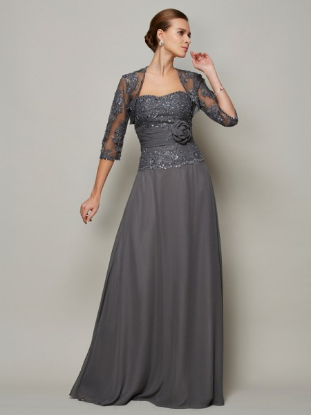 A Line Princess Chiffon Sweetheart Applique Floor Length Mother of the Bride Outfits