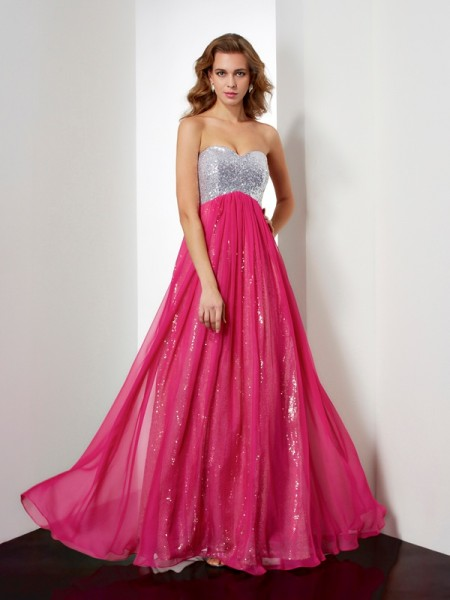 A Line Princess Sweetheart Beading Floor Length Chiffon Prom Dress