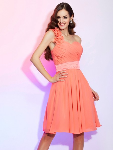 A Line Knee Length One Shoulder Chiffon Bridesmaid Dress