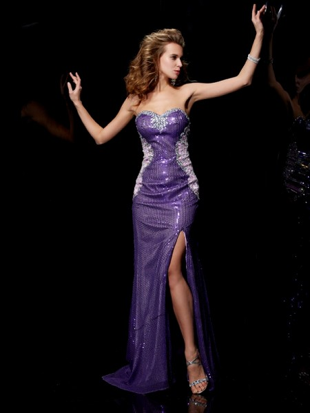 Sweetheart Column Elastic Woven Satin Sweep Brush Train Evening Gown
