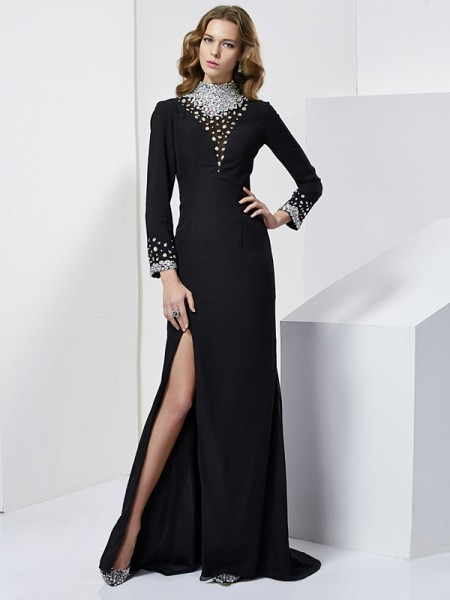 Column long Sleeves High Neck Beading Sweep Brush Train Chiffon Prom Dress