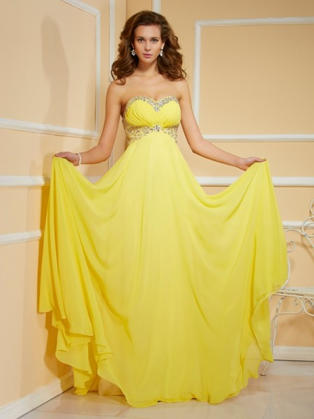 Sweetheart Column Rhinestone Floor Length Chiffon Prom Dress