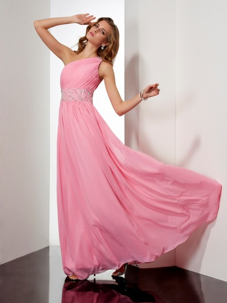 Beading A Line Princess Chiffon One Shoulder Floor Length Evening Gown