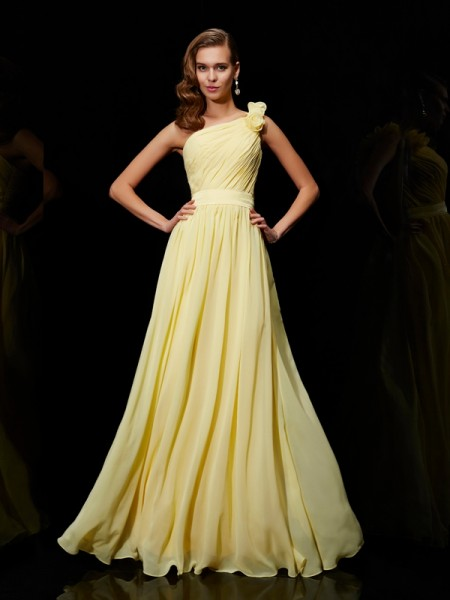 A Line Princess Chiffon One Shoulder Bridesmaid Dress