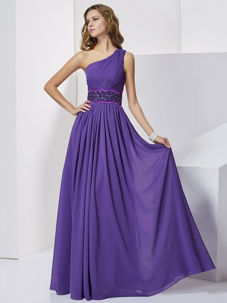 Empire One Shoulder Beading Floor Length Chiffon Prom Dress