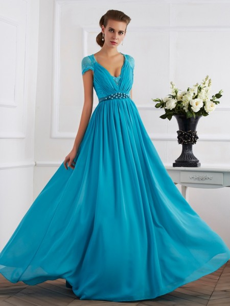 A Line Princess V-Neck Short Sleeves Beading Chiffon Floor Length Evening Gown