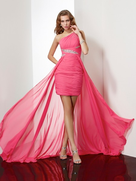 Column One Shoulder Beading Chiffon Mini Gown