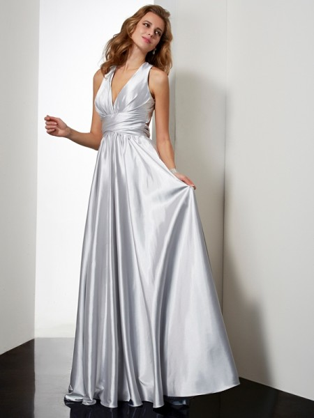 A Line Princess Floor Length Halter Pleats Elastic Woven Satin Evening Gown