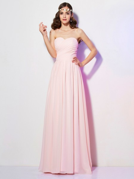 A Line Princess Sweetheart Pleats Chiffon Floor Length Gown