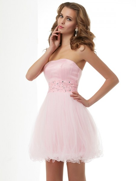 Sweetheart Column Beading Elastic Woven Satin Mini Gown