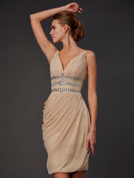 Column V-Neck Beading Mini Chiffon Gown