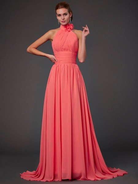 A Line Princess Halter Chiffon Bridesmaid Dress