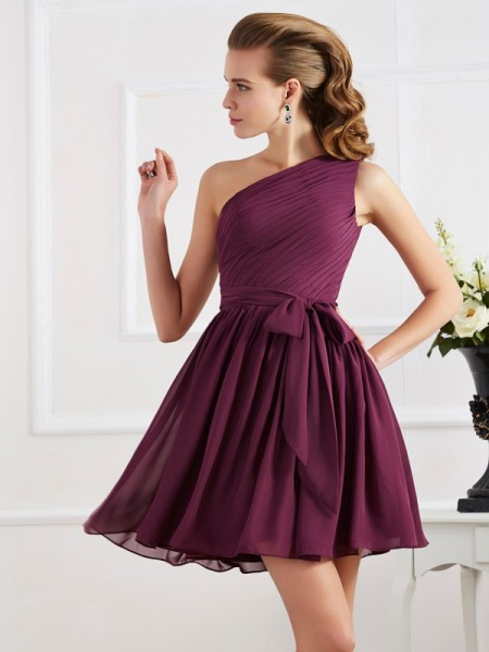 A Line Princess One Shoulder Pleats Mini Chiffon Women Dress