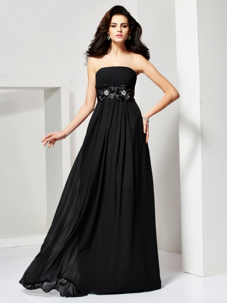 A Line Strapless Hand Made Flower Chiffon Evening Dresses
