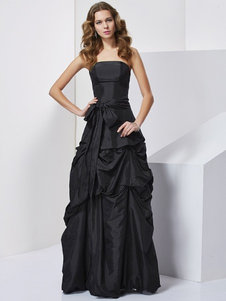 Column Strapless bowknot Taffeta Floor Length Evening Gown