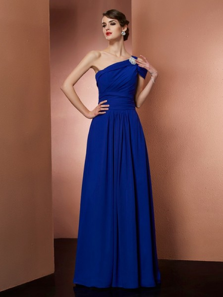 A Line One Shoulder Pleats Chiffon Floor Length Evening Gown