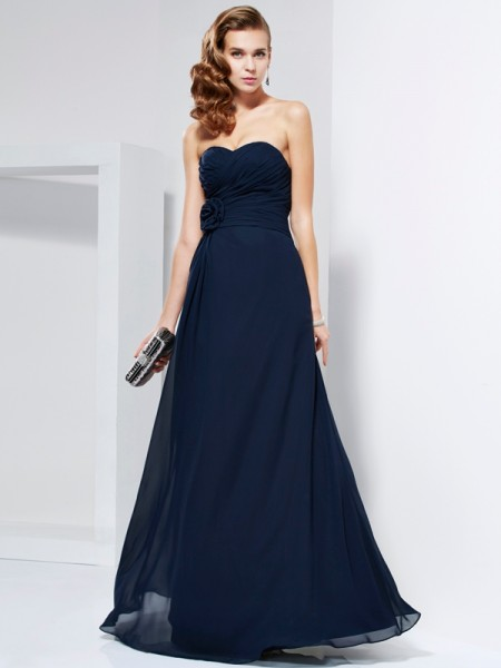 A Line Hand Made Flower Sweetheart Pleats Floor Length Chiffon Evening Dresses