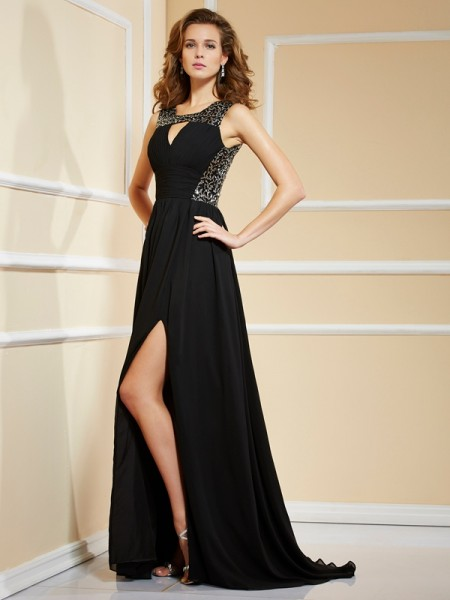 A Line Princess Chiffon High Neck paillette Sweep Brush Train Gown