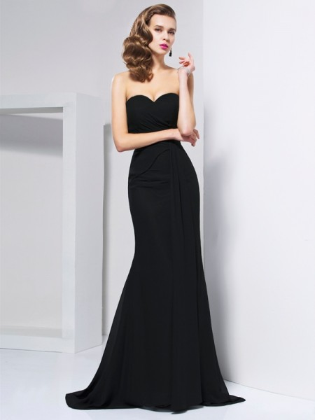 Mermaid Pleats Sweetheart Sweep Brush Train Chiffon Gown