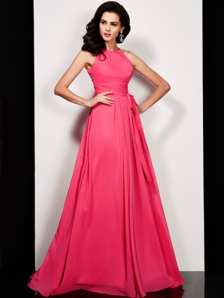 A Line Floor Length High Neck Pleats Sash Ribbon Belt Chiffon Dress