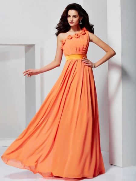 A Line Princess One Shoulder Hand Made Flower Chiffon Gown