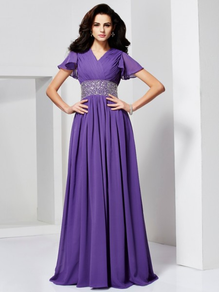 A Line Short Sleeves V-Neck Beading Floor Length Chiffon Dress