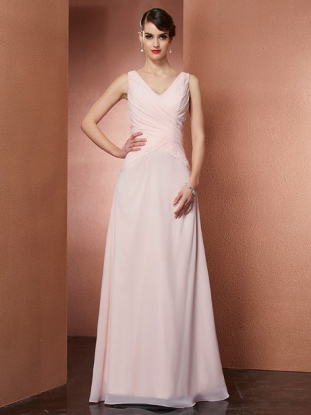A Line V-Neck Pleats Chiffon Floor Length Evening Gown