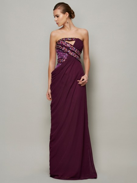 A Line Strapless Floor Length Beading Chiffon Evening Dresses