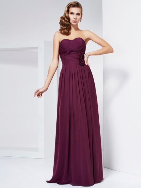 Column Hand Made Flower Sweetheart Pleats Floor Length Evening Gown