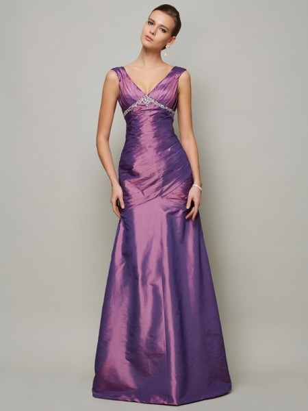 Column V-Neck Ruffles Floor Length Taffeta Gown
