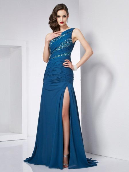 A Line One Shoulder Beading Chiffon Sweep Brush Train Evening Gown