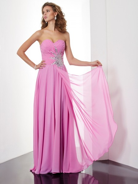A Line Floor Length ruched Sweetheart Chiffon Evening Dresses