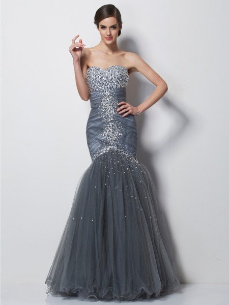 Mermaid Sweetheart Beading Floor Length Satin Evening Gown