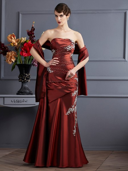 Column Strapless Applique Floor Length Beading Taffeta Evening Gown